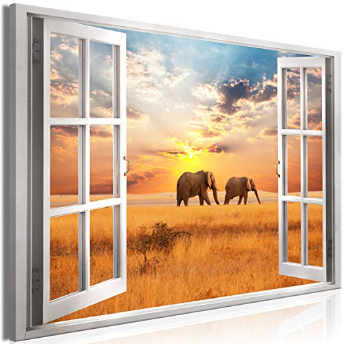 murando - Bilder Fensterblick 120x80 cm Vlies Leinwandbild 1 TLG Kunstdruck modern Wandbilder XXL Wanddekoration Design Wand Bild - Afrika Elefant c-C-0388-b-a