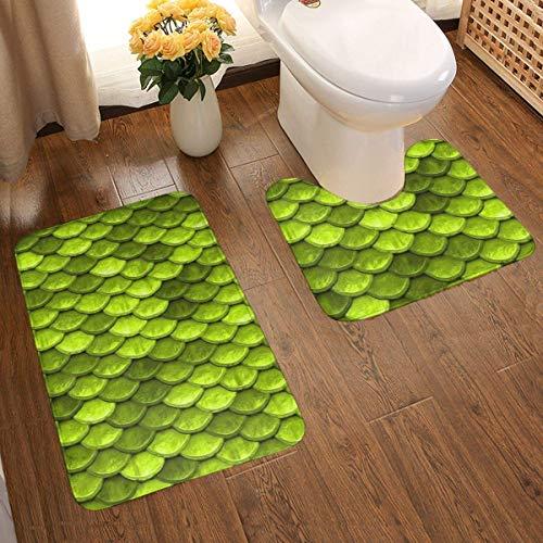 2 Pcs Bath and Pedestal Mat Set, Quick Drying Bathroom Mat Carpet,U-Shaped Contour Mat Shower Mat,Drying Beautiful Lime Green Mermaid Fish Scales