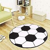 ACHICOO Antideslizante patrón de bola redonda forma alfombra para la silla de computadora Pad oficina Mat negro y blanco fútbol 60 cm para suministros para el hogar