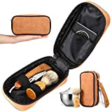 Wood Shavette Straight Razor Kit - Replaceable Blade Straight Razor, Mahogany Shavette, No Stropping or Honing, Leather Case, Brush, Bowl, Perfect Travel Kit, Hygienic, Great for Beginners, Great Gift
