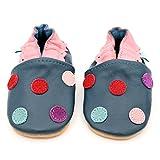 Dotty Fish Zapatos de Cuero Suave para bebés. Antideslizante. Lunares de Color...
