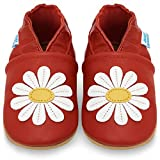 Toddler Shoes Soft Sole Leather - Baby Girl Shoes - Red Daisy 18-24 Months