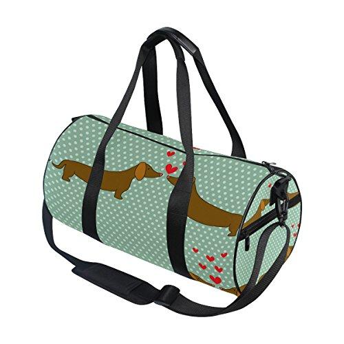 Use4 Retro Polka Dots Dachshund Dog Travel Duffel Bag Sport Gym Luggage Bag for Men Women