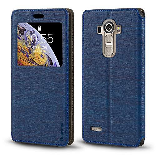 LG G4 Case - Funda para LG G4, piel de grano de madera con tarjetero y ventana, tapa magnética para LG G4