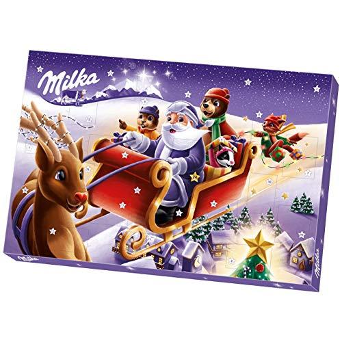Milka Adventskalender 1 x 200g, Schokoladenfiguren mit Füllung, Zwei zufällig ausgewählte Designs