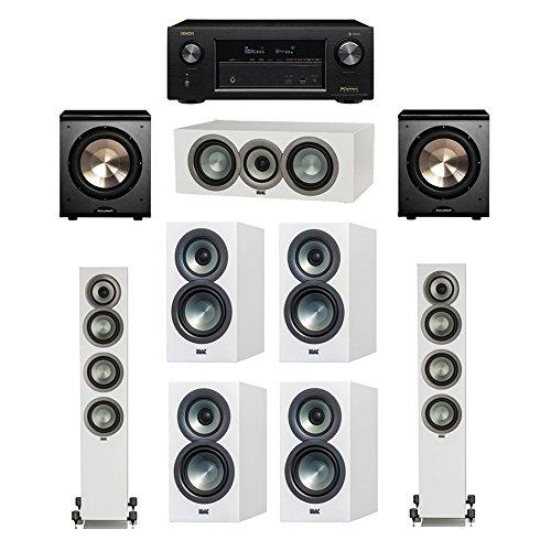Great Price! ELAC Uni-Fi Slim White 7.2 System with 2 ELAC FS-U5 Floorstanding Speakers, 1 ELAC CC-U...