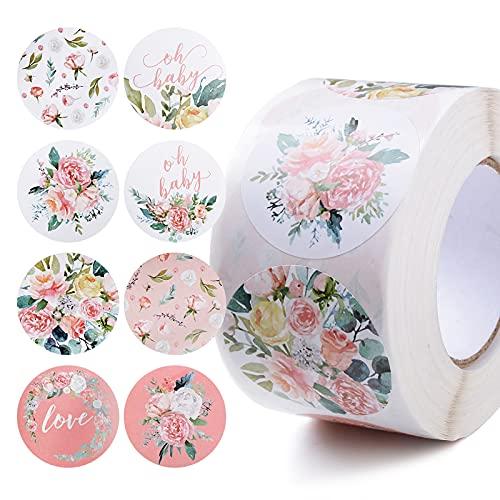 500pcs Pegatinas Adhesivas Papel Etiquetas Decorativas Flores Rollo para Scrapbooking Sello de Bolsa de Regalo Oficina Bolsa Fiesta de Cumpleaños