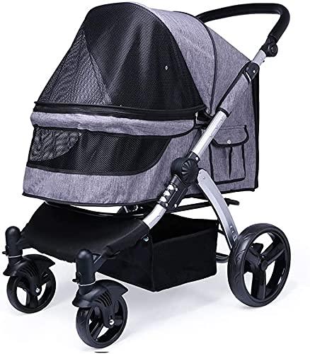 Cochecito de bebé liviano Portátil de 4 ruedas Cochecito para perros pequeños y medianos con espacio grande y cesta de almacenamiento, el marco de aluminio tiene mascotas de hasta 80 lbs, para perros