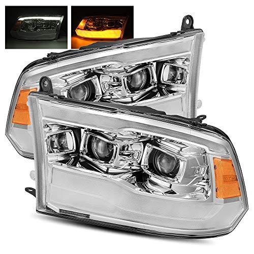 AlphaRex Black For 09-18 Ram 1500/10-18 Ram 2500/3500 DRL/Signal LED Dual Projector Headlights