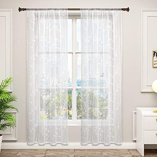 WOLTU VH6057ws-2, 2er Set Gardinen transparent Blumen Stickerei mit Kräuselband Leinen Optik, Doppelpack Vorhang Stores Voile Fensterschal Dekoschal für Wohnzimmer Schlafzimmer, 140x245 cm, Weiß