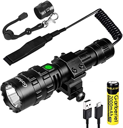 WholeFire Torcia Tattica LED XM-L2 2 in 1 con Montaggio su Guida Picatinny, USB Ricaricabile 5 Modalità 3000 Lumen Potente Torcia Elettrica Impermeabile Luce da Caccia Scout