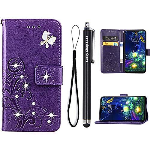 ZTE ZMAX Pro Case,ZTE Carry Z981 Cases,Fashion Handmade 3D Bling Diamond PU Leather Stand Flip Case Cover with Card Holder Folio Wallet Case for ZTE ZMAX Pro/Carry Z981 (Purple)