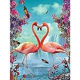 Injoys - Kit de pintura de diamantes 5D para manualidades, cuadro de punto de cruz, bordado, imágenes, decoración del hogar, flamencos enamorados, 11.8 x 15.7 pulgadas, 1 paquete