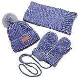 shenruifa Conjunto de gorro de moda para niños, gorro de invierno cálido, bufanda, guantes para bebé, gorro de felpa, 3 piezas, conjunto de 3 piezas para niños y niñas con pompón, bufanda y guantes