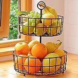 Fruit Basket Stand Bowl for Kitchen Countertop, 2 Tier Large Portable & Detachable Fruit Vegetable Storage Holder Display for Kitchen Organizer, Black, DECLUTTR