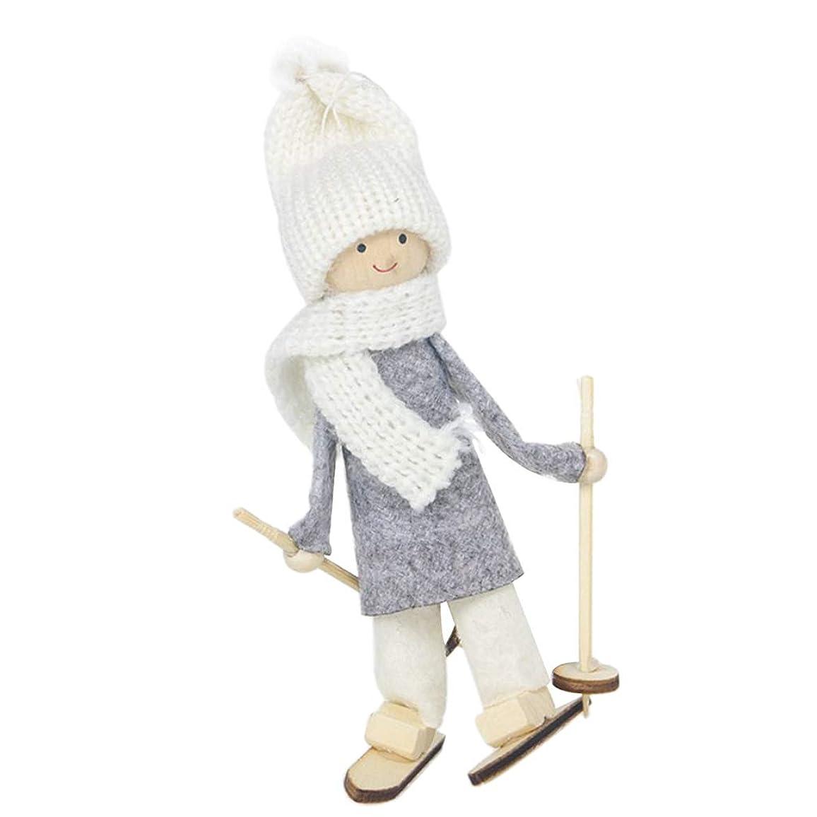 クリーク砂の呪われたクリスマス ドール 吊り装飾 木製 ペンダント 可愛い 人形 プレゼント 2タイプ選べ - 白い帽子