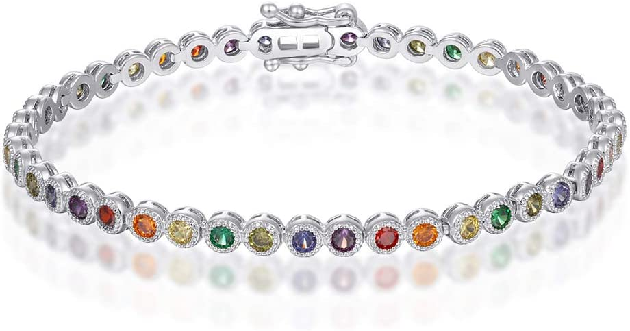 Italina Women's Sister Charm White Round Cut Multi Color Cubic Zirconia Charm Classic Tennis Bracelet Rhodium/Gold/Rosegold Plated