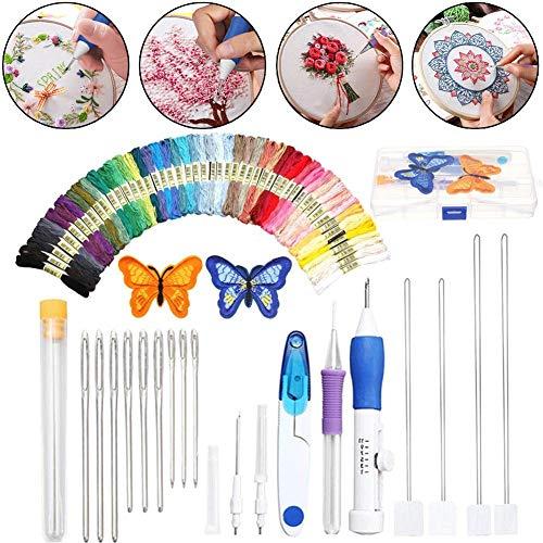 Cali Jade Stick Starter Kit Kreuzstich Tool Kit mit 50 Farben, 2 Sticktüchern, Nadelsatz und Anderen erforderlichen Werkzeugen