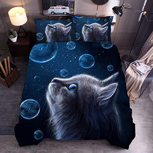 Duvet bubble cat 3D bedding quilt cover pillowcase single double bed