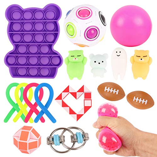 Herefun Juguetes Sensoriales Niños, Juguetes Antiestrés, Juego de Juguetes Fidget Sensoriales, Juguetes Sensoriales Kit Niños, Pop Bubble Juguetes Sensoriales Autismo para Aliviar el Estrés