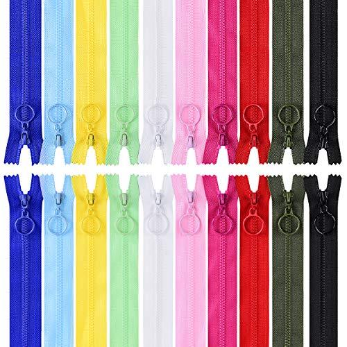 LegendTech 20 Reißverschlüsse Multicolor Harz-Reißverschluss Mit Metall-Zugring Geschlossener Reißverschluss für Nähen Kinderkleidung Kissen Zelt Rucksack Schlafsack 25cm Farbklassifizierung