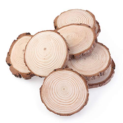 DOITOOL - 10 unidades de rebanadas de madera para troncos de árbol, discos redondos de madera, círculos de madera para manualidades, centros de centro de mesa de boda (7-9 cm)