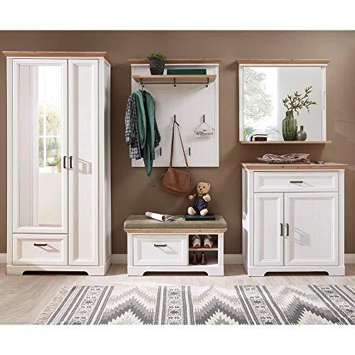 Lomadox Landhaus Garderoben Set mit Kleiderschrank in Pinie weiß mit Artisan Eiche