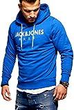 JACK & JONES Herren Hoodie Kapuzenpullover Sweatshirt Pullover Print Streetwear (X-Large, Surf The Web)