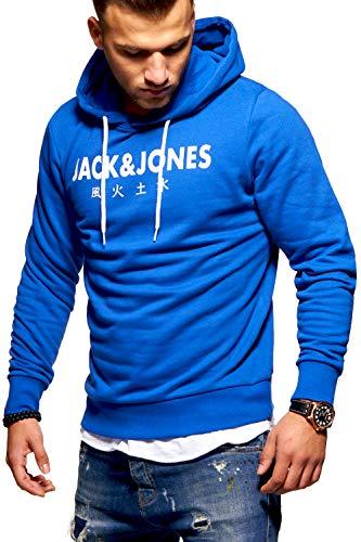 JACK & JONES Herren Hoodie Kapuzenpullover Sweatshirt Pullover Print Streetwear (Medium, Surf The Web)