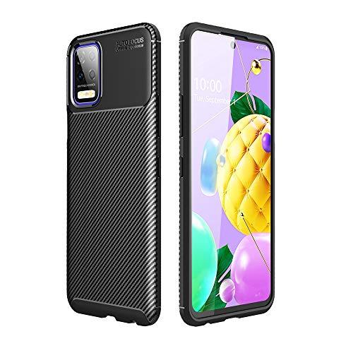 UOPMT-a per LG K52, Cover per Telefono Ultra Sottile E Leggera A Dissipazione di Calore, Cover Posteriore Flessibile in TPU in Fibra di Carbonio 0104T(Color:Nero)