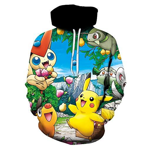 BAOGEGEDE Nueva Sudadera con Capucha 3D De Dibujos Animados Pokémon para Hombre / Niña Hip Hop Streetwear Sudadera con Capucha-Is-1107_S