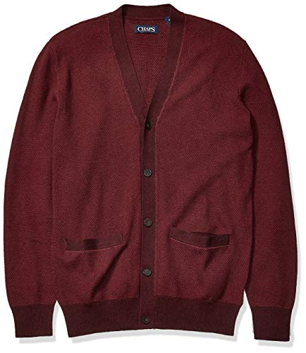 Chaps Men's Soft Cotton Cardigan Sweater, Rich Ruby Multi, XL