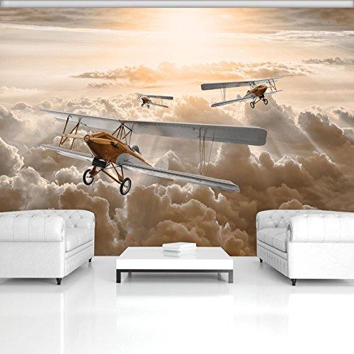 FORWALL Fototapete Vlies - Tapete Moderne Wanddeko Flugzeuge über den Wolken VEXL (208cm. x 146cm.) AMF10605VEXL Wandtapete Design Tapete Wohnzimmer Schlafzimmer