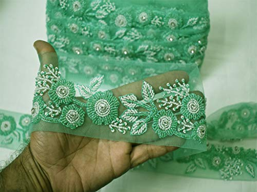 Wholesale by 9 Yard Bridal Clutches Ribbon Wedding Dupatta Tape Exclusive Sari Border Indian Crafting Accessories Sewing Cushion Embellishment Trimming Boutique sea Green Beaded Saree Fabric Trim