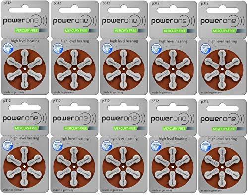 Powerone P312 Varta Hörgerätebatterie  (180mAh, 1,4Volt) -10er Set (60 Batterien)