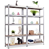 Giantex 2 Pieces Shelving Rack Storage Shelf Steel Garage Utility Rack 5-Shelf Adjustable Shelves Heavy Duty Display Stand for Books, Kitchenware, Tools Bolt-Free Assembly 36'x 16'x 72'', Silver