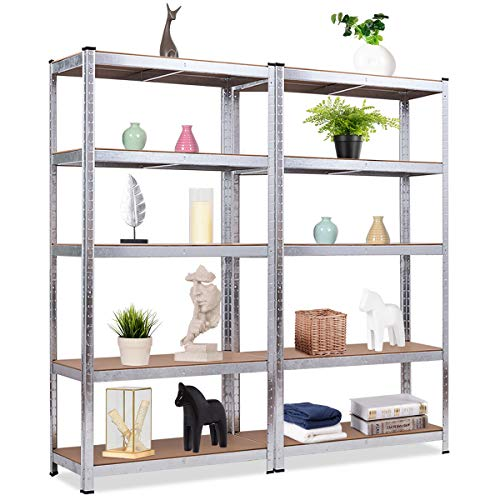Giantex 2 Pieces Shelving Rack Storage Shelf Steel Garage Utility Rack 5-Shelf Adjustable Shelves Heavy Duty Display Stand for Books Kitchenware Tools Bolt-Free Assembly 36x 16x 72 Silver