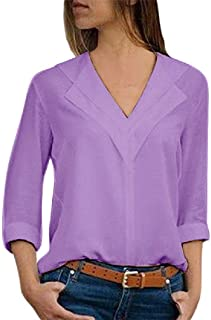 Zimaes Women V-Neck Loose Chiffon Solid Long-Sleeve Top Blouse Shirts