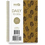 to Do List Daily Task Checklist Planner Time Management Notebook by Bright Day Non Dated Flex Cover Spiral Organizer 8.25 x 6.25 (Gold Leaf)