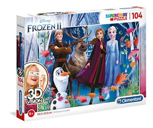 Clementoni- Puzzle 104 Piezas 3D + Gafas Frozen 2 (20611.7)