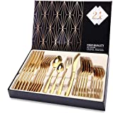 Silverware Set, HOBO 24-Piece Stainless Steel Flatware Set With Titanium Gold Plated, Golden Color Flatware Set, Silverware, Cutlery Set Service For 6