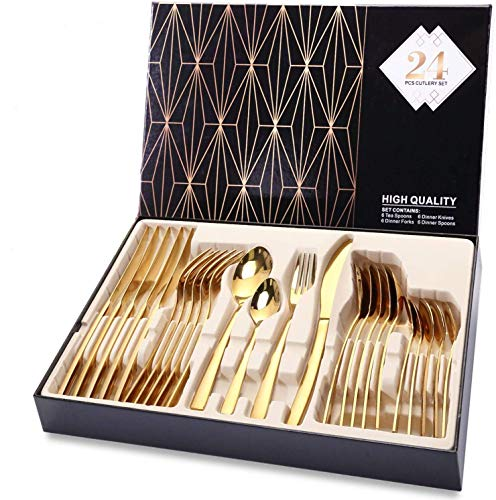 Silverware Set, HOBO 24-Piece Stainless Steel Flatware Set With Titanium Gold Plated, Golden Color Flatware Set