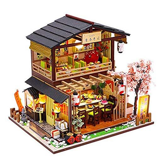 YUACY Puppen Haus Kit,DIY Toy House Miniature Mit MöBeln Holz Spielzeug Haus Bausatz Plus Staubschutz Und Musik Sport Architektur Modell Spielzeug