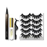 5 Pairs Natural False Eyelashes with Waterproof Eyeliner Kit Long Lasting Comes With Tweezer, Glue, Soft Reusable Eye Lashes in 5 Mixed Styles Cosmetic Makeup(Kit 1)