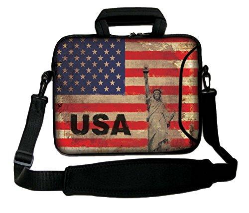 Luxburg® Schultertasche, 14 Zoll, weich, für Notebooks, mit Griff, Design: USA-Flagge
