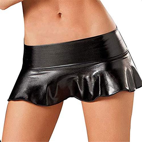 YJNH Damen PVC Leder Ultrakurz Minirock Wet Look Stretch GoGo Shiny Metallischer Faltenrock Nachtclub Kleidung One Size