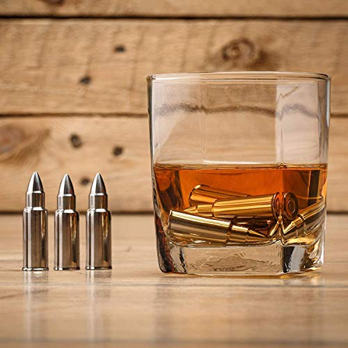 Product Image 3: Stainless Steel Bullet Shaped Whiskey Stones Set of 6 – Chilling Rocks – Ice Stones With Tongs And Freezer Pouch, Gift Idea for Whiskey Lovers