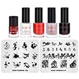 KADS 2 x Stamping-Vorlagen, 4 Stück, schwarz, weiß, rot, klassischer Stamping-Lack, chinesische Mode-Serie, Nagelstempel-Schablonen-Set