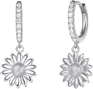 White Gold Plated 925 Sterling Silver CZ Cubic Zirconia Simulated Diamond Feather/Evil Eye/Turtle/Sunflower Daisy/Star Burst Dangle Drop Small Hoop Earrings For Women Girls, Height 1 INCH