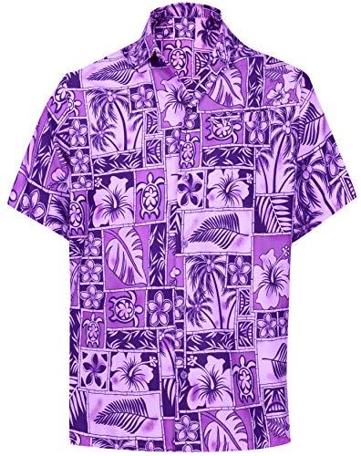 LA LEELA Men's Hibiscus Flower Button Up Short Sleeve Hawaiian Shirt XL Violet_W406